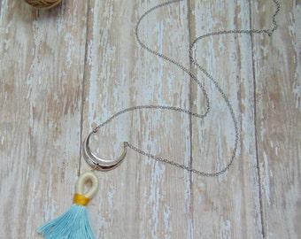 Tassel Necklace, Tassle Jewelry, Crescent Moon Necklace, Long Necklace Boho, Summer Jewelry, Long Necklace Pendant, Boho Necklace