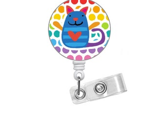 "Colorful Cat 1.5"" ID Badge Holder - Veterinarian Badge  - PICU Nurse  Badge - Teacher Badge Reel - Medical Badge - Nurse Badge - RN Gift"
