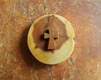 cedar slab magnet with cross  Christian kitchen decor, stocking stuffer