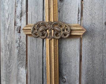 Cross hand made from vintage gold painted frame with old hardware piece