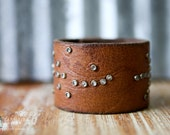 CUSTOM HANDSTAMPED CUFF - bracelet - personalized by Farmgirl Paints - brown leather cuff with scattered crystal gemstones