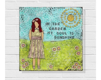 Summer Girls Mixed Media Girl Original Canvas / She Art / 8x8 Collage Painting