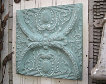Vintage Ceiling Pressed Tin Tile. 2'x2' FRAMED Metal tile. Antique Architectural salvage. Reclaimed metal Tin ceiling tile. Aqua wall decor.