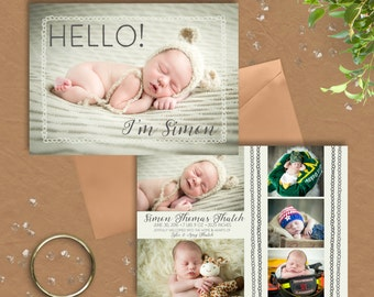 Simon Baby Boy Announcement · 6 phtoto · Boy or Girl · Neutral 2 sided Birth Announcement