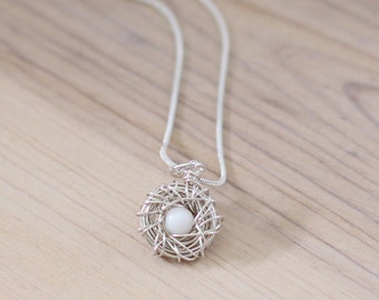 new mother gift, Sterling silver bird nest pendant, Gift for New mom of boy, bird nest necklace, push present