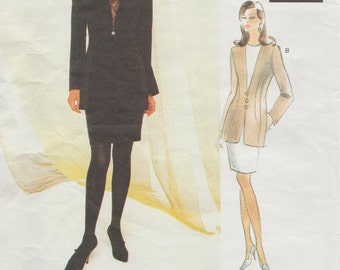 Vogue Attitudes 1491 / Vintage Designer Sewing Pattern By Badgley Mischka / Skirt Jacket Tunic Suit / Sizes 6 8 10