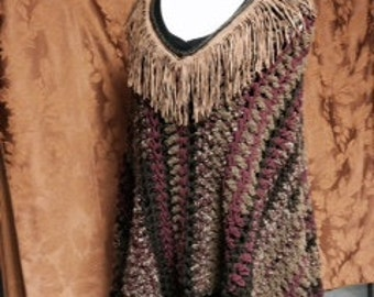 Crocheted Poncho Faux Suede Trimmed
