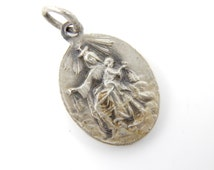 French Antique Our Lady of Mount Carmel - Sacred Heart of Jesus Silver Catholic Medal - signed Lasserre S86