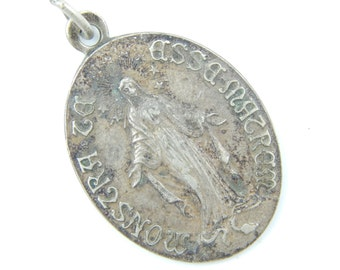Vintage French Miraculous Medal Catholic Medal - Religious Charm -Immaculate Conception Catholic Jewelry W43