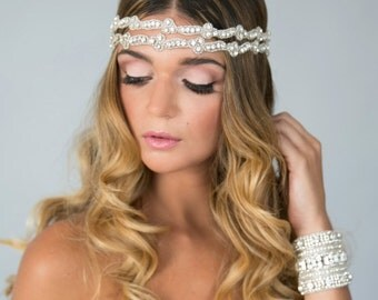 Adriana Wedding bridal crystal headpiece headband satin ribbon vintage inspired band