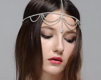 Lulu Boho Bohemian Goddess Vintage Jeweled Gatsby wedding Headband Head Piece Forehead Headdress