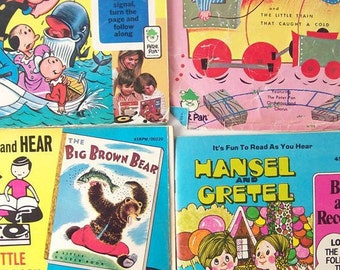 vintage nursery rhyme childrens books & records peter pan see hear read recording story storybook songs child kids retro modern 45's popeye