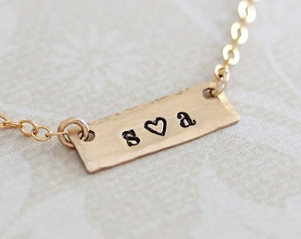 Tiny Bar Necklace, Dainty Gold Couples Initials, Personalized Two Initials, Horizontal Gold Filled