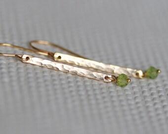 Gold Gemstone Earrings, Custom Gold Bar Earrings, Genuine Birthstones, Dangle Hammered 14k Gold Filled