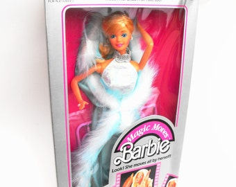 1985 Magic Moves Barbie Fashion Doll Mattel Icy Blue Fur Cape Silver Winter Dress Vanity Hair Salon Dryer Brush Comb Makeup Blonde Superstar