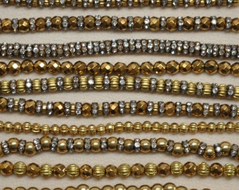 3 and 4 mm Vintage Golden Toned Hematite, Rhinestone Rondelles or Fluted Brass Beads