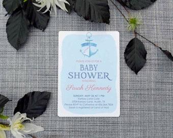 Printable Custom Blue Anchor Baby Shower Invitation