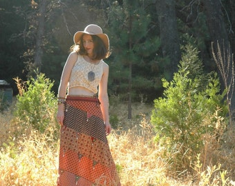 Size Medium...Indian Cotton Maxi Skirt... Boho Skirt... Gypsy Chic...Great Exotic Pattern Mix