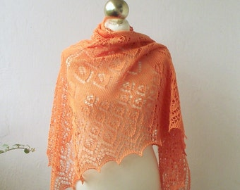 Cotton hand knitted lace shawl, Tangerine summer lace shawl.