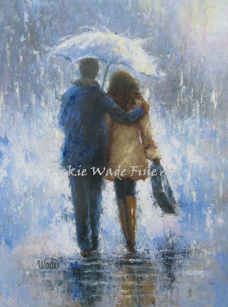 Lovers Rain Art Print loving couple walking in rain love