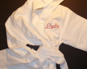 Girls Monogram Hooded Robe Personalized Waffle Weave Robe All Cotton Robe Monogram Childs Robe Custom Embroidered