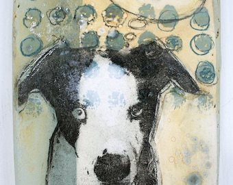 Hand made decorative tile with Catahoula Leopard dog. Great dane mix, ceramic dog wall hanging, hand painted ceramics, OOAK, image transfer