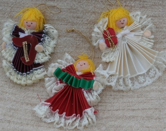 3 Vintage Angel Christmas Ornaments by Russ Berrie, Flocked and Fabric