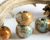 Round Ceramic Beads,  Crackle Amber Teal Gold Luster Glazed Ball mosaic clay Beads, Organic rounds jewelry boho rustic supplies, 14mm- 2 pcs