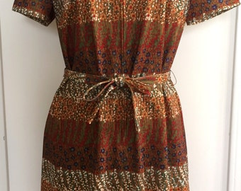 Vintage 1960s 70s Calico Floral Day Dress - Three R's