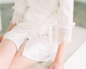 Bridal Lace Robe, Getting Ready Robes, Wedding robes for bridesmaids, Bridal Robe, Lace Bridal Robe, Boudoir Robe, Silk Robe, Margot