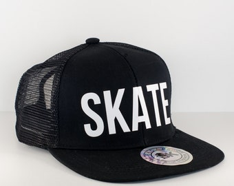 Black Roller Derby SKATE Hat || Snapback Cap || Flat Bill Hat || Roller Derby Clothing || Skate Board || Speed Skate