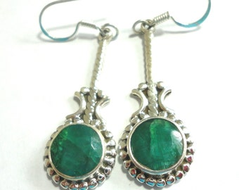 Emerald Earrings Rough Cut Faceted Genuine Emerald Dangle Earrings in Solid Sterling Silver
