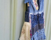 Blue Jean Dress Patchwork Denim dress funky upcycled denim boho gypsy denim jacket wearable art tunic dress by CreoleSha
