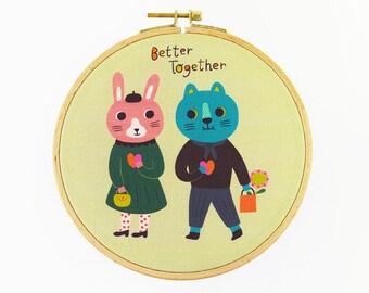 Better Together Hoop Art - Canvas Print in Embroidery Hoop - Fabric Gallery Wall Art - Motivational Nursery Wall Art