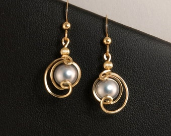 Gray Pearl Gold Earrings, Unique Pearl Earrings, Small Dangle Gray Pearl Wedding Jewelry