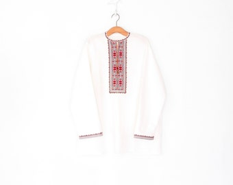 Embroidered Folk Blouse * Vintage Peasant Shirt * Folk Embroidery Tunic Top * Men's Medium / Large