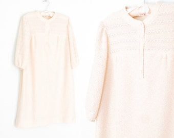 Vintage 70s Dress * Ivory Smock Dress * Nubby Knit Midi Dress * Medium