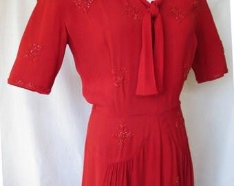 1940s Red Beaded Dress, Rayon Crepe, Arthur Weiss Original