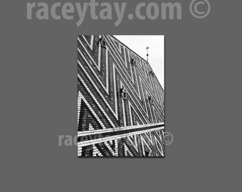Black and White Office Decor, Vienna Photography, Stephansdom Roof,  Architecture, Travel Photography