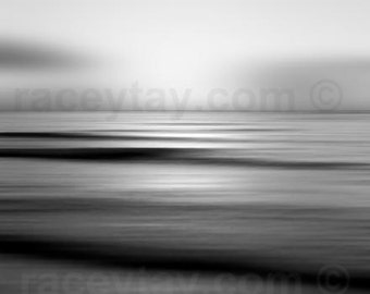 Black and White Ocean Photography - Bathroom Wall Art - Soothing Abstract Modern Waves Print- Large Wall Art