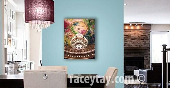 Chandlier Wall Art, Pink Gold Paris Candelier Canvas / Large Canvas Art / 16x20 Canvas / Bedroom Wall Art