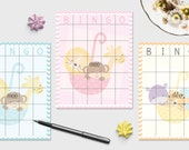 Baby Shower Bingo Game - Printable - Zoo Animals - Blue, Pink, or Yellow - INSTAND DOWNLOAD