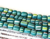 Indonesian Rustic Tribal Beads - Striped Seed Beads - Jewelry Making Supply (~5mm) 12 or 24 inches - Teal