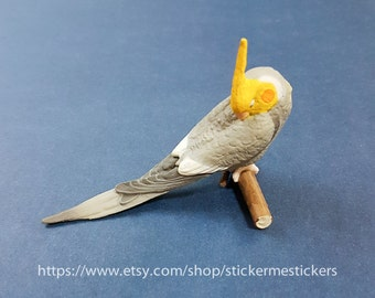 Mini Parrot Figurine, Miniature Cockatiel, Cockatiel Toy, Cockatiel Collectible, Grey Cockatiel, Gray Cockatiel