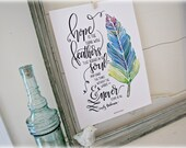 Hope Is That Thing With Feather  - Emily Dickenson Art Print - Hand Lettering - Watercolor painting