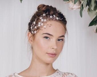 Cherry blossom hairvine, flower hairvine, wedding hair vine, bridal hairvine, rose gold hair vine, silver hairvine, gold hairvine - Cherry