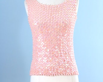 1960s beaded blouse / 60s pink wool knit sequence top / Sweetheart top
