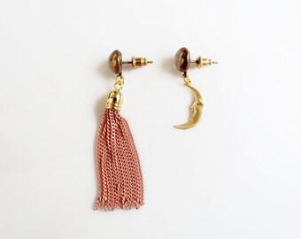 Tassel Statement Earrings, Gold Moon Earrings, Asymmetrical Mismatched Earrings
