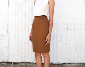 Vintage Minimalist 1990's High Waisted Raw Sienna Brown Knee Length Tailored Pencil Skirt XS/S 24