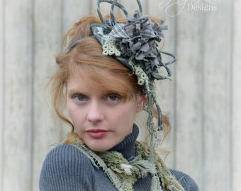 Headdress Hat Grunge Plaid / Fascinator / Mini Hat / Rag Doll / Mori Girl Gray Green Headband